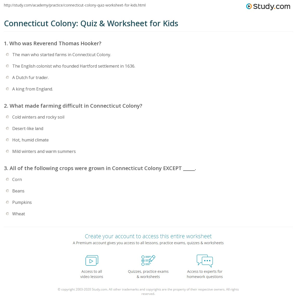 Connecticut Colony Quiz Amp Worksheet For Kids