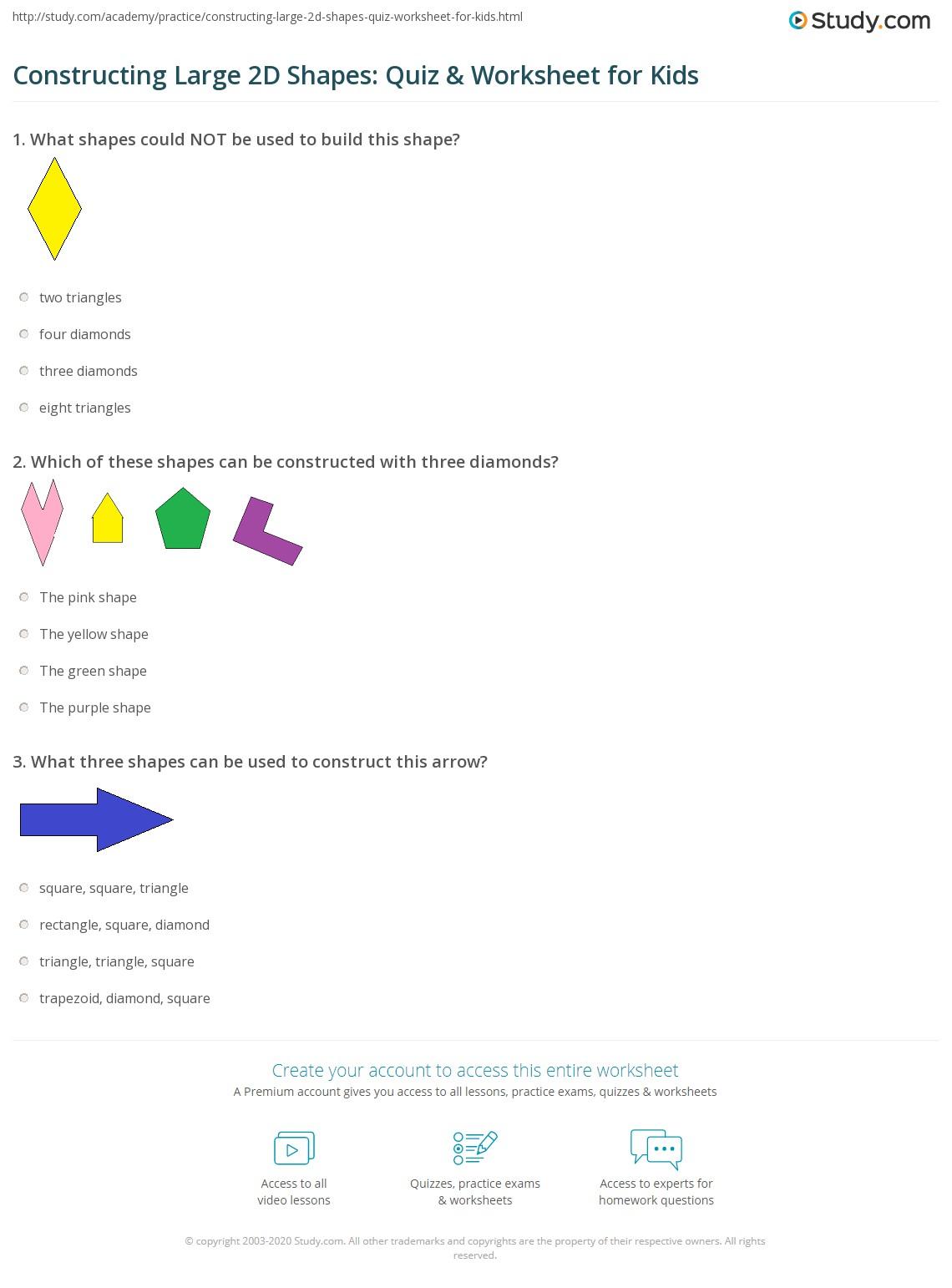 Constructing Large 2d Shapes Quiz Amp Worksheet For Kids