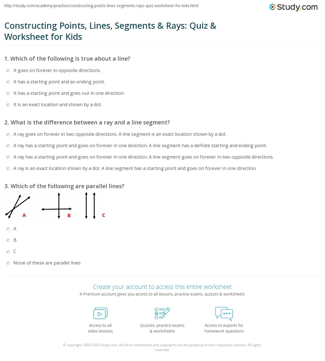 Worksheet Identifying Line Segments Rays