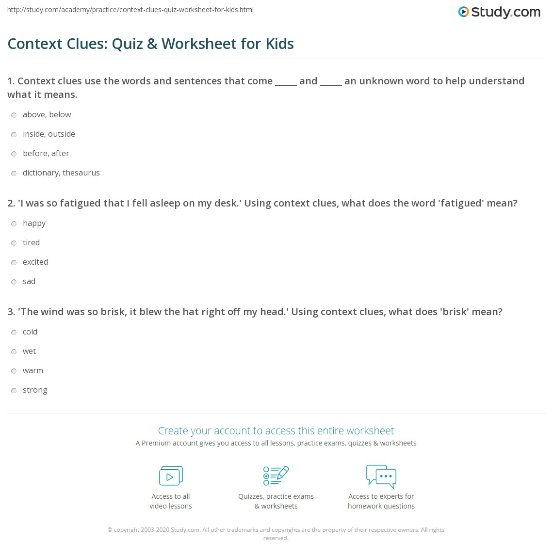 Context Clues Worksheet Synonyms