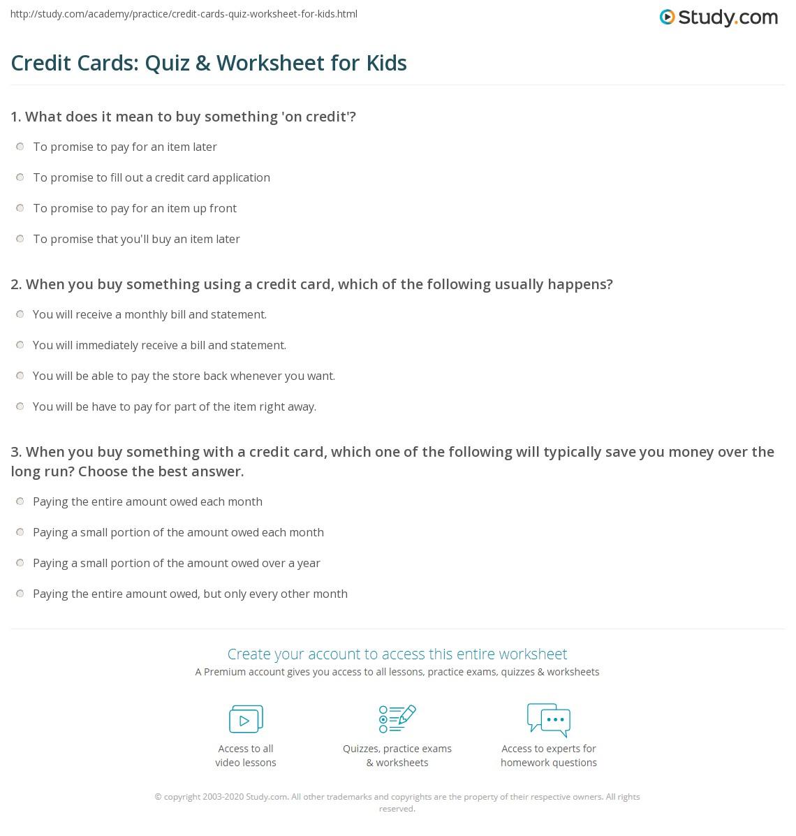 Credit C Rds Quiz W Ksheet Kids Study
