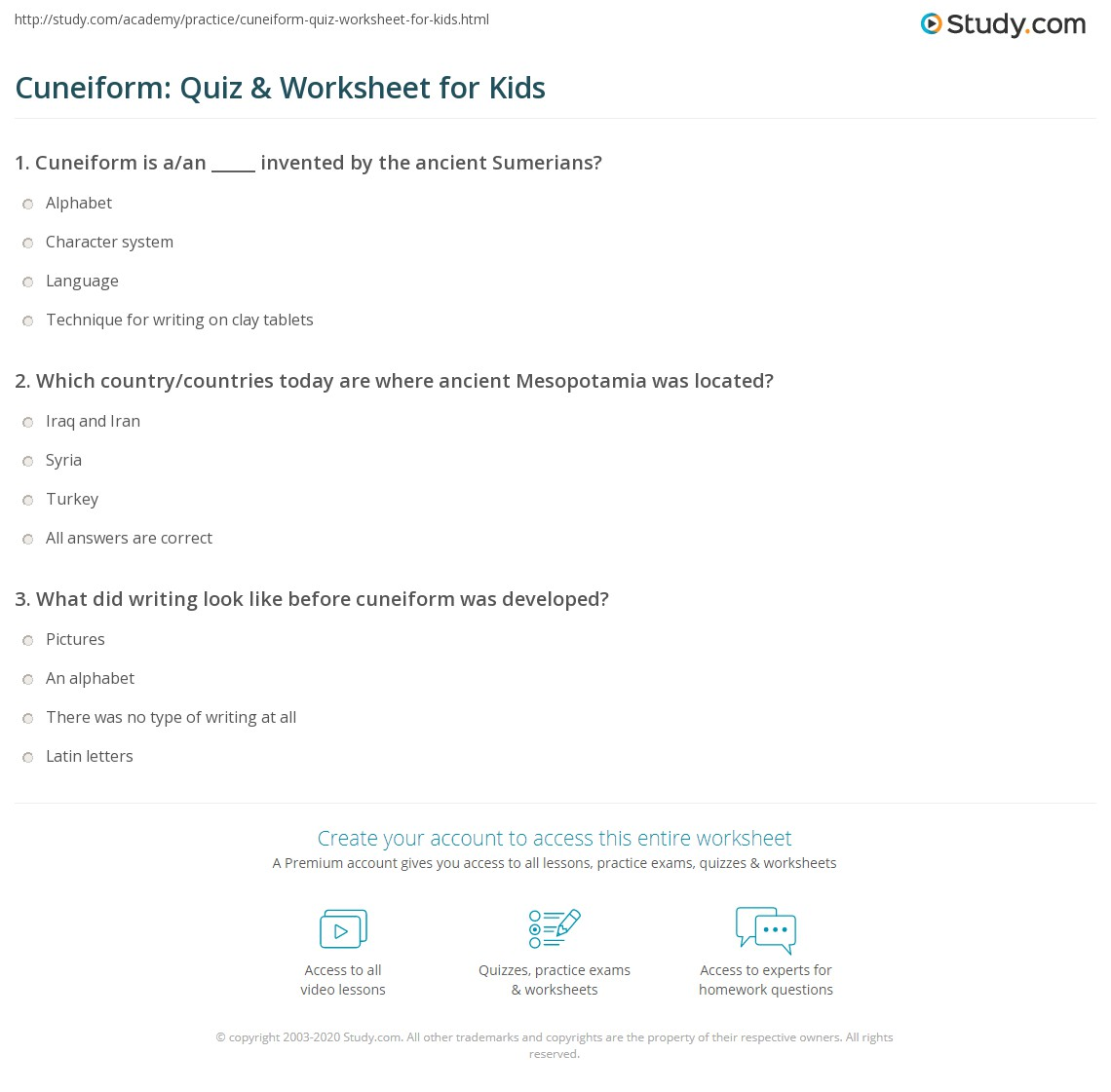 Cuneiform Quiz Amp Worksheet For Kids