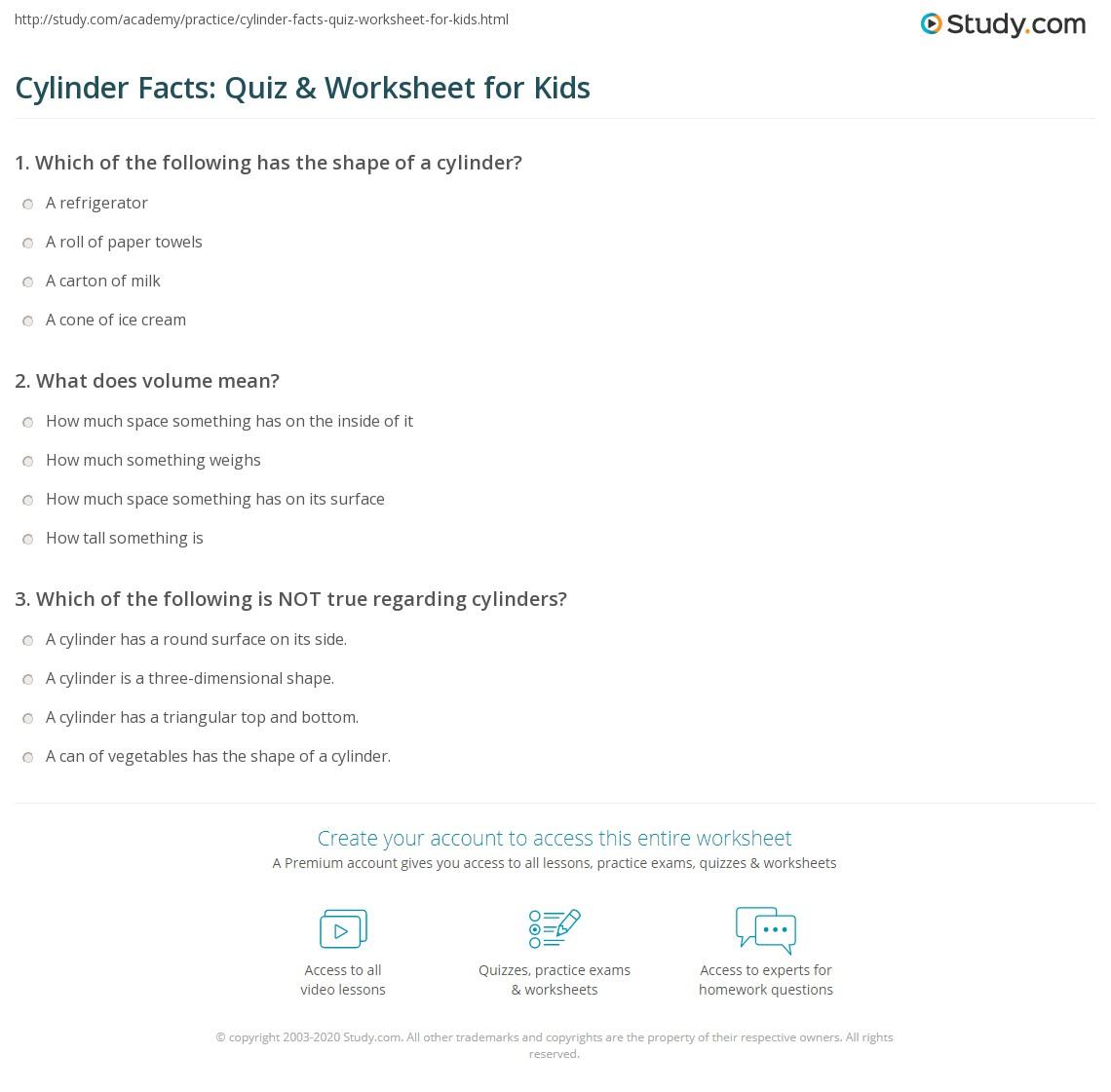 Cylinder Facts Quiz Amp Worksheet For Kids