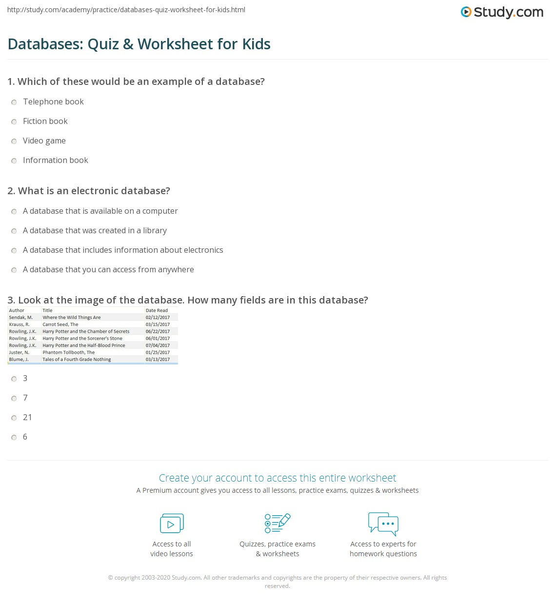 Databases Quiz Amp Worksheet For Kids