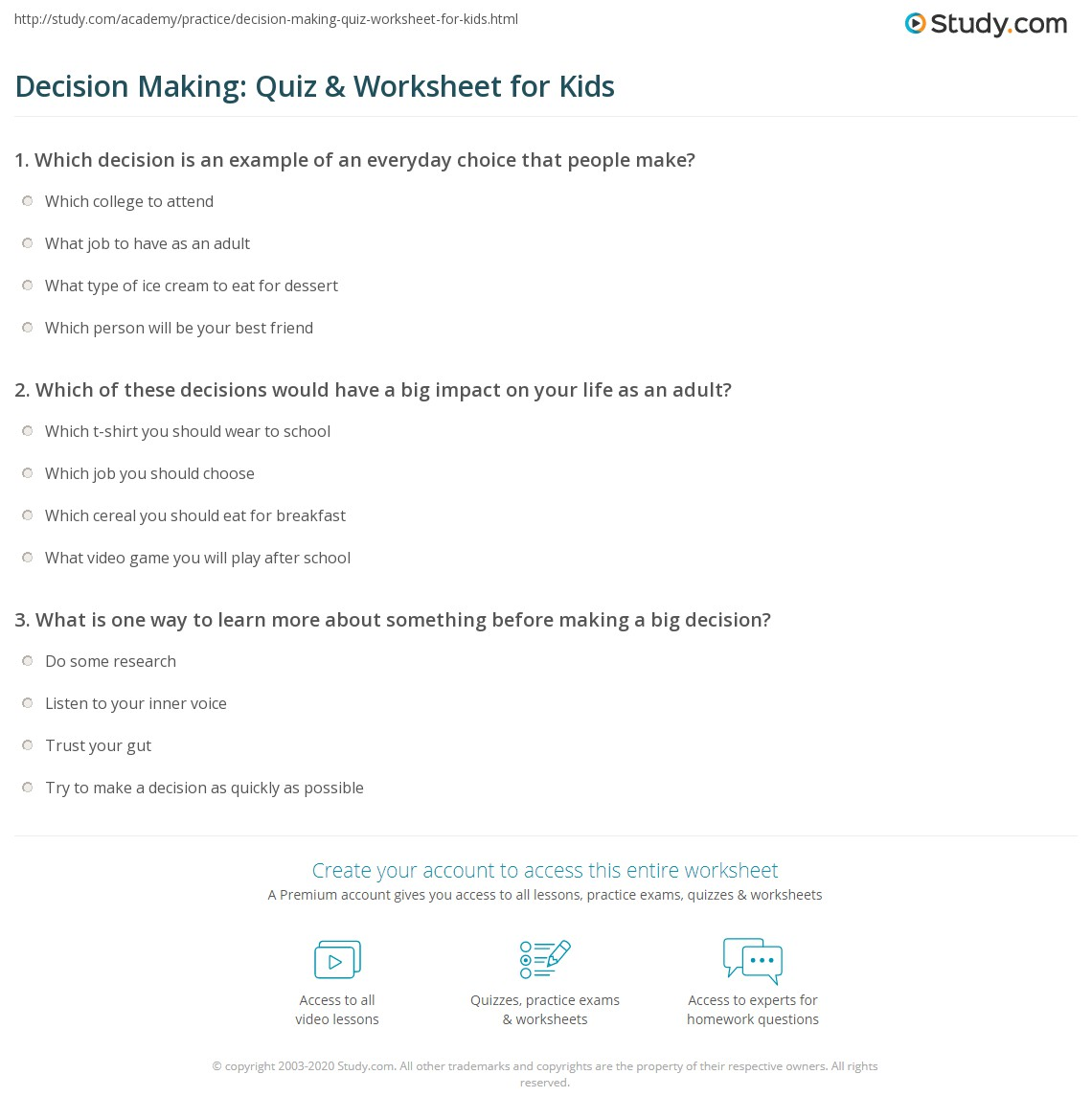 Decision Making Quiz Amp Worksheet For Kids
