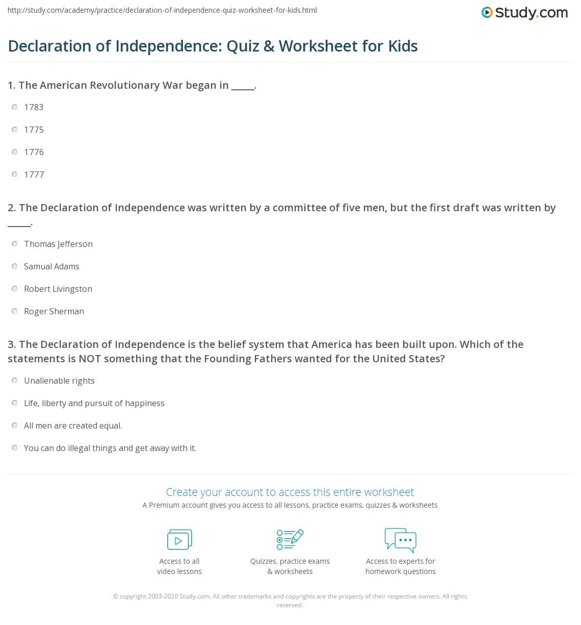 Independence Day Worksheet For Kindergarten
