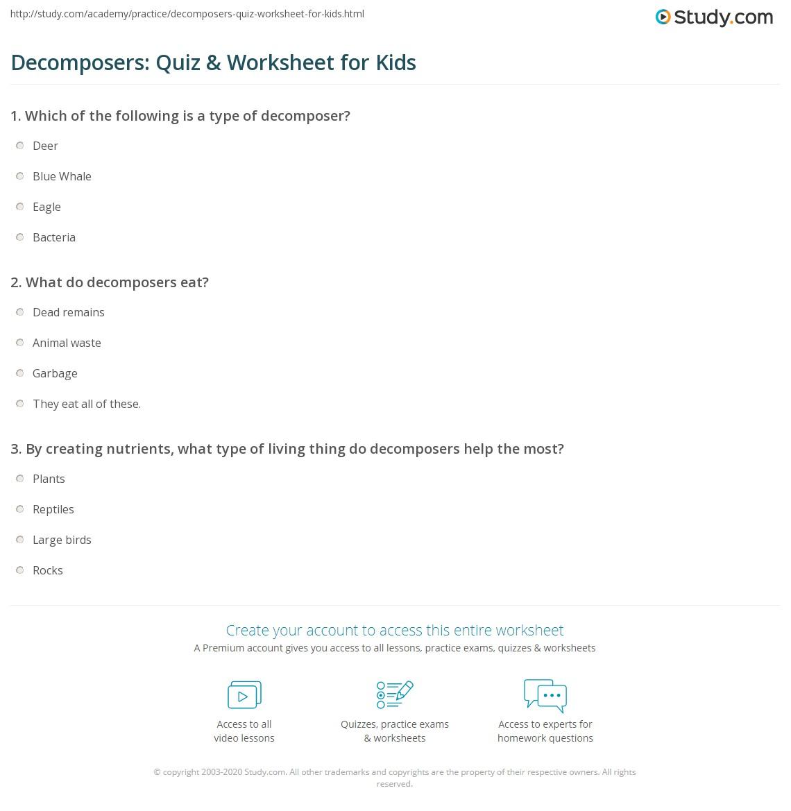 Decomposers Quiz Amp Worksheet For Kids