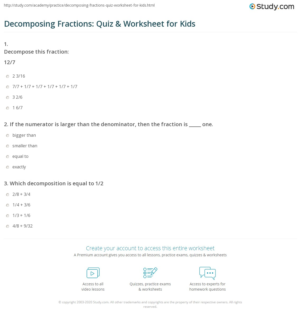 Decomposing Fractions Quiz Amp Worksheet For Kids