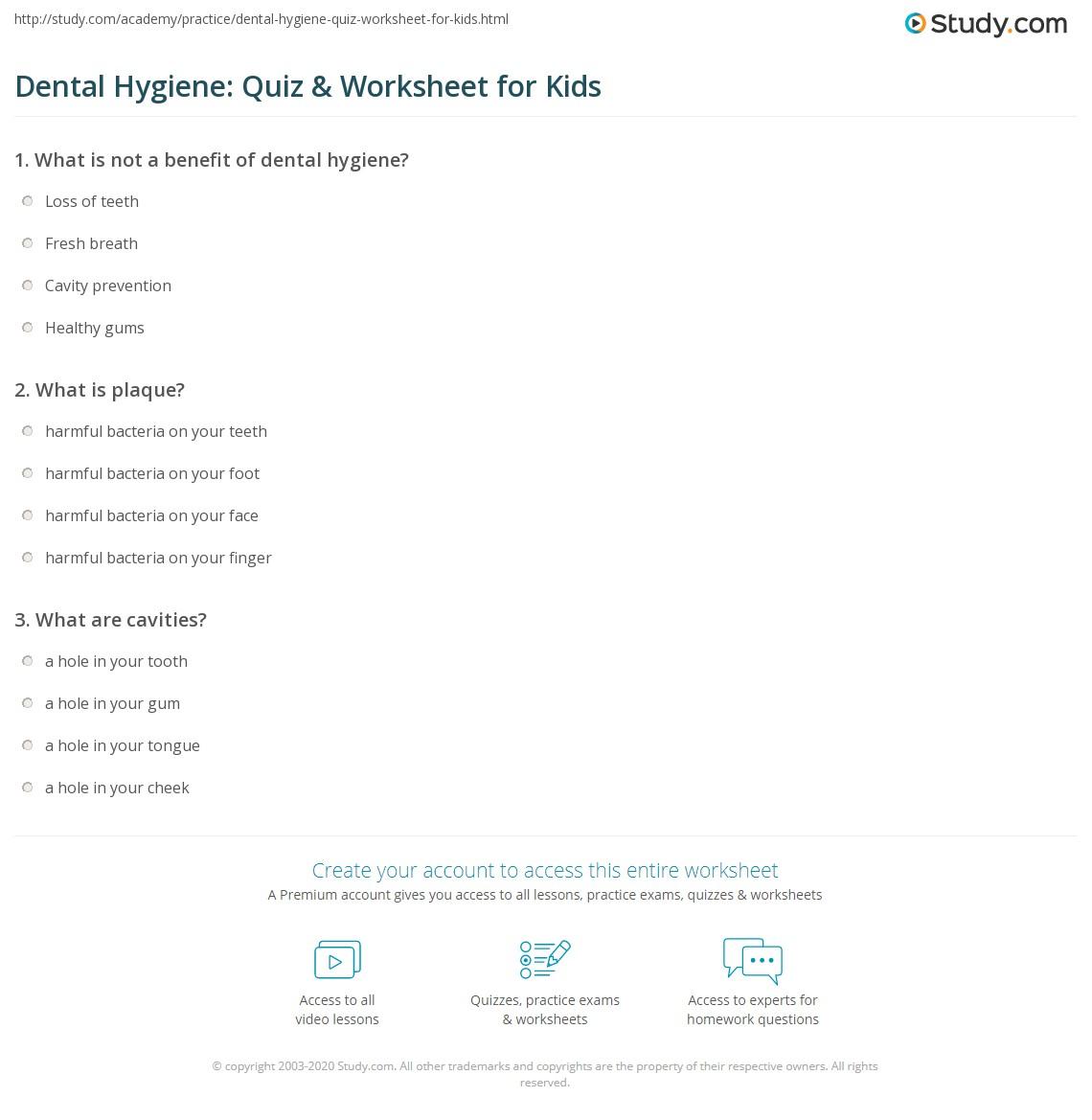Dental Hygiene Quiz Amp Worksheet For Kids