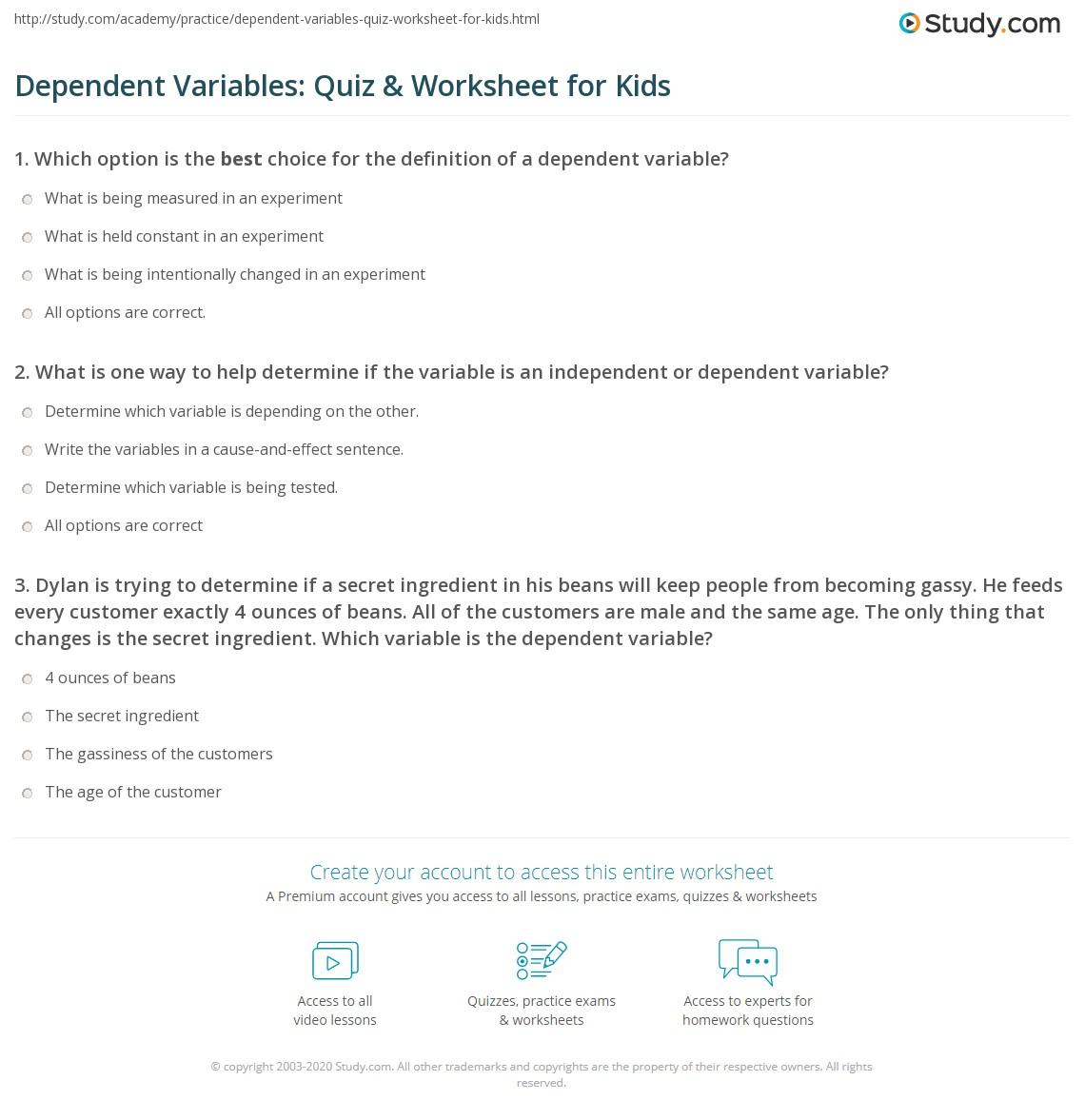 Dependent Variables Quiz Amp Worksheet For Kids
