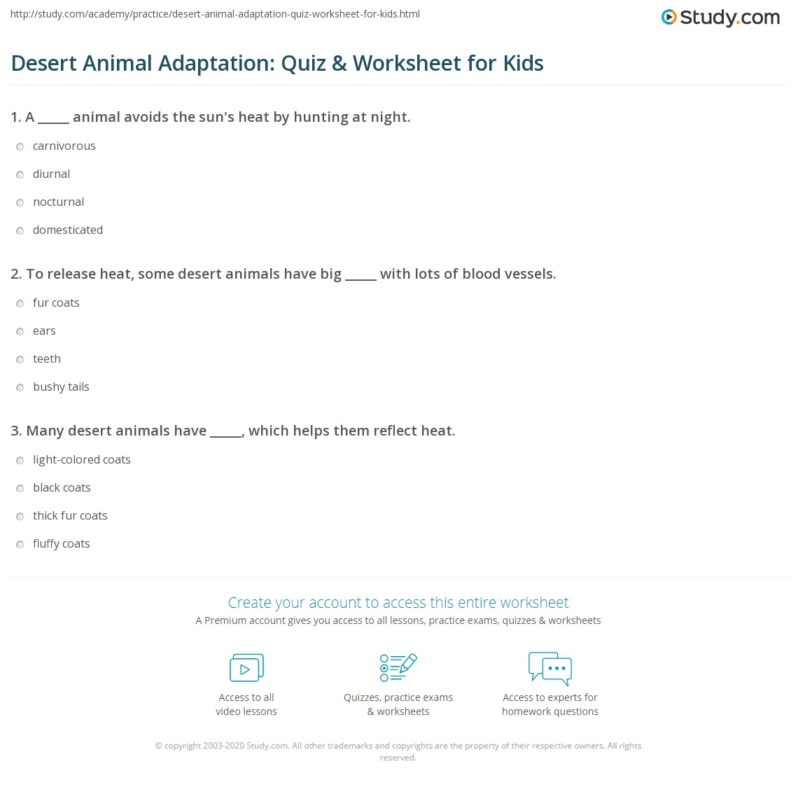 Desert Animal Adaptation Quiz Amp Worksheet For Kids