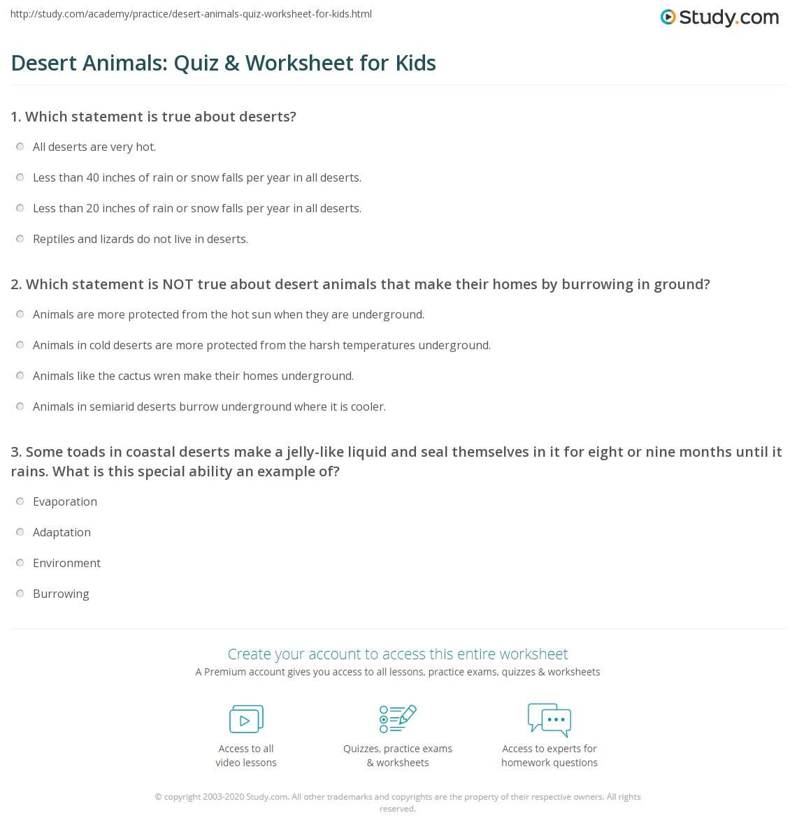 Desert Animals Quiz Amp Worksheet For Kids