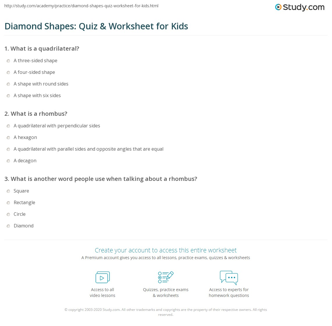Diamond Shapes Quiz Amp Worksheet For Kids