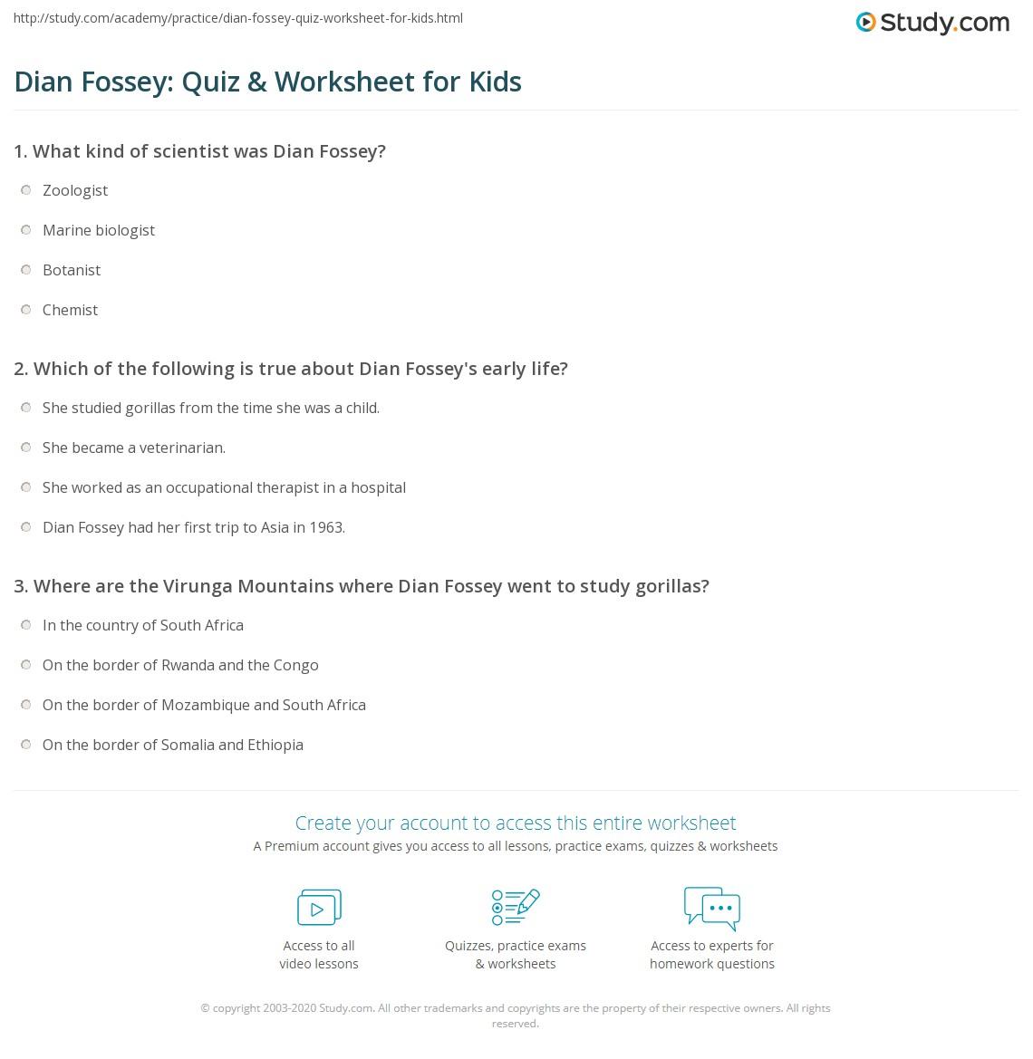 Dian Fossey Quiz Amp Worksheet For Kids
