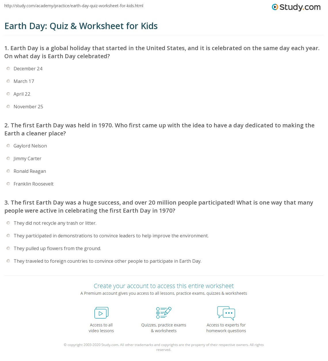 Earth Day Quiz Amp Worksheet For Kids