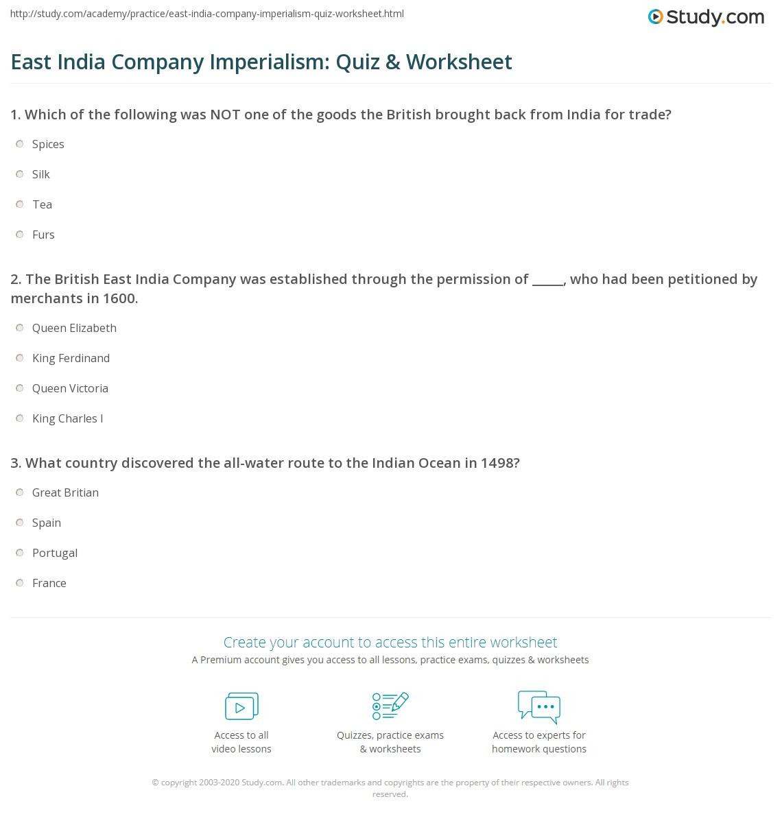 East India Company Imperialism Quiz Amp Worksheet