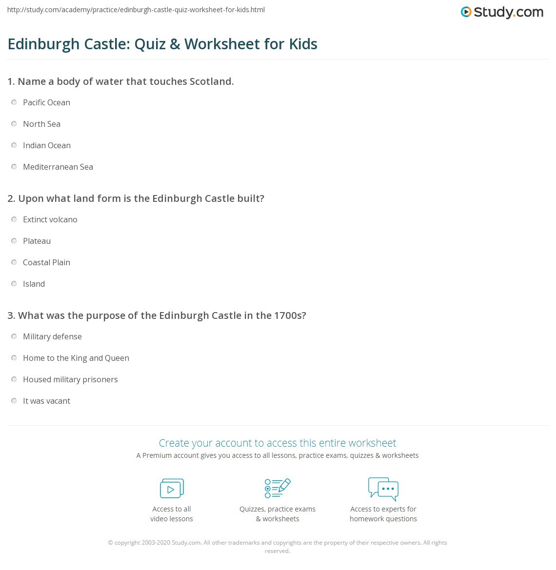 Edinburgh Castle Quiz Amp Worksheet For Kids