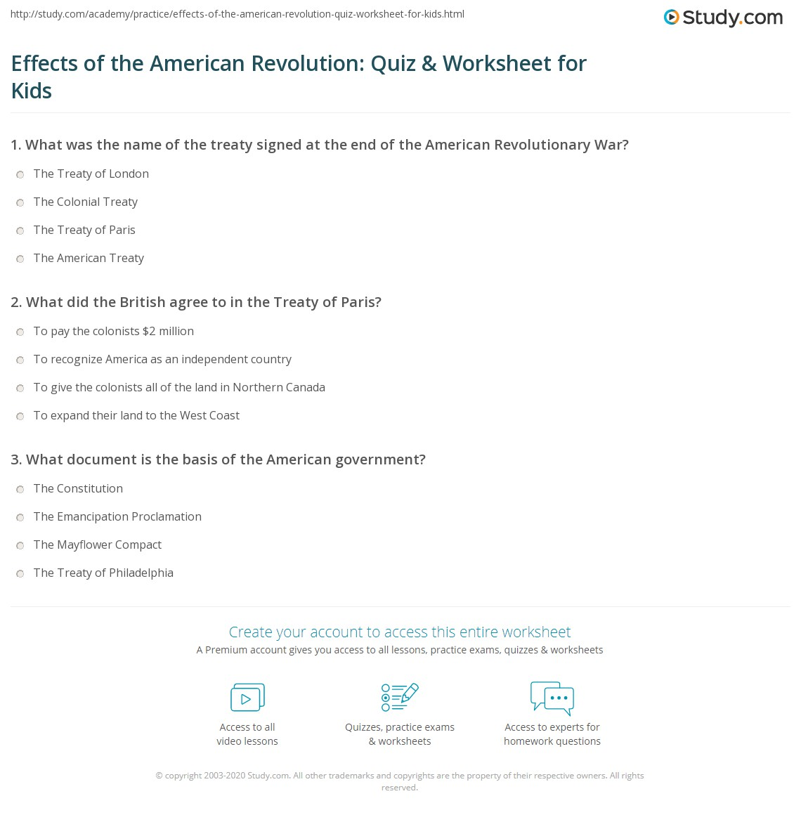 Effects Of The American Revolution Quiz Amp Worksheet For