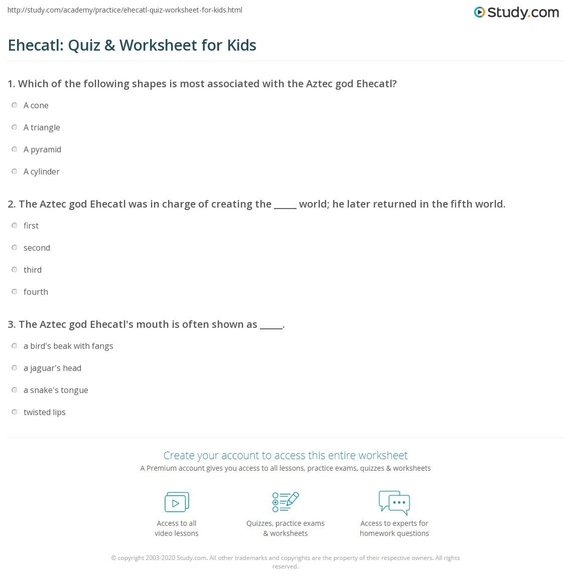Ehecatl Quiz Amp Worksheet For Kids