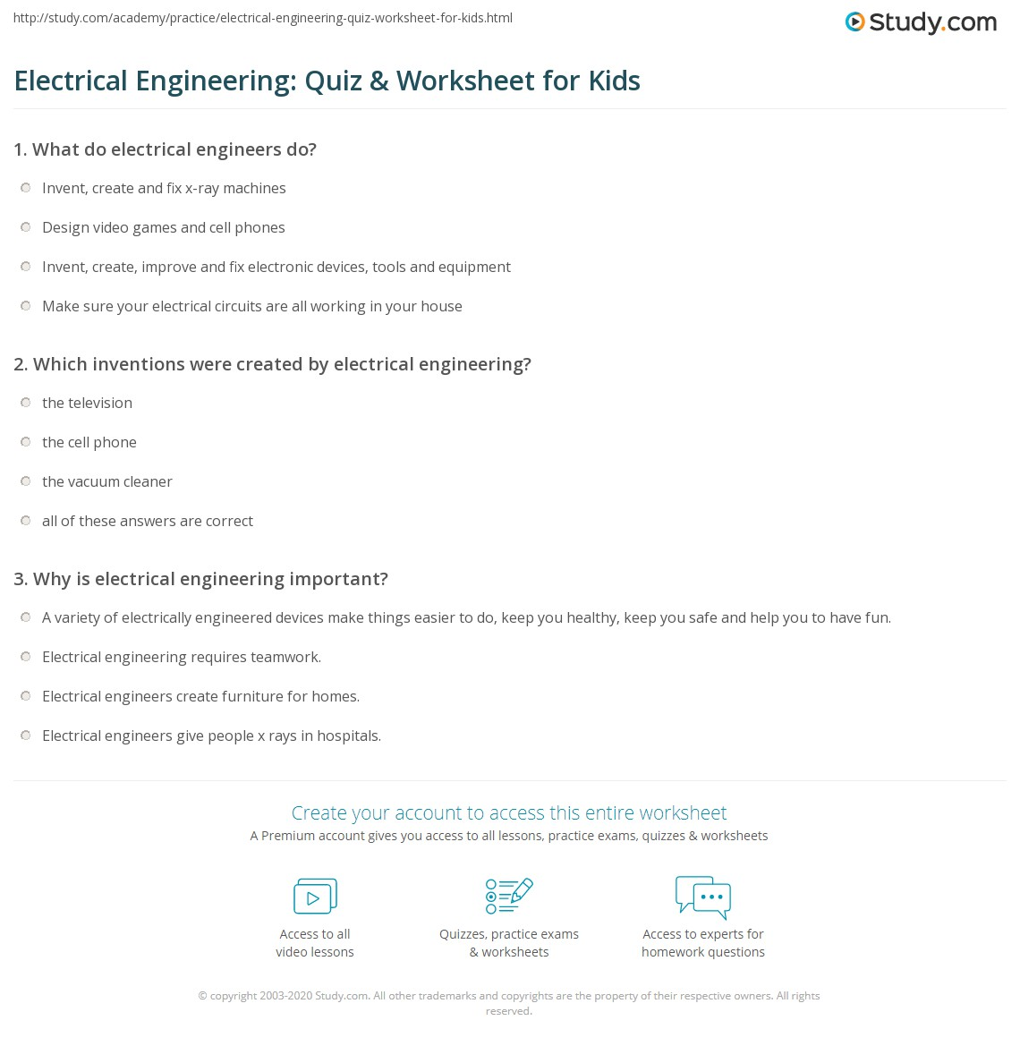 Electrical Engineering Quiz Amp Worksheet For Kids
