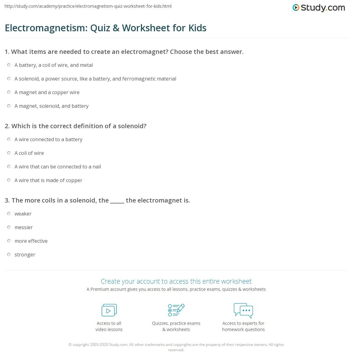 Electromagnetism Quiz Amp Worksheet For Kids