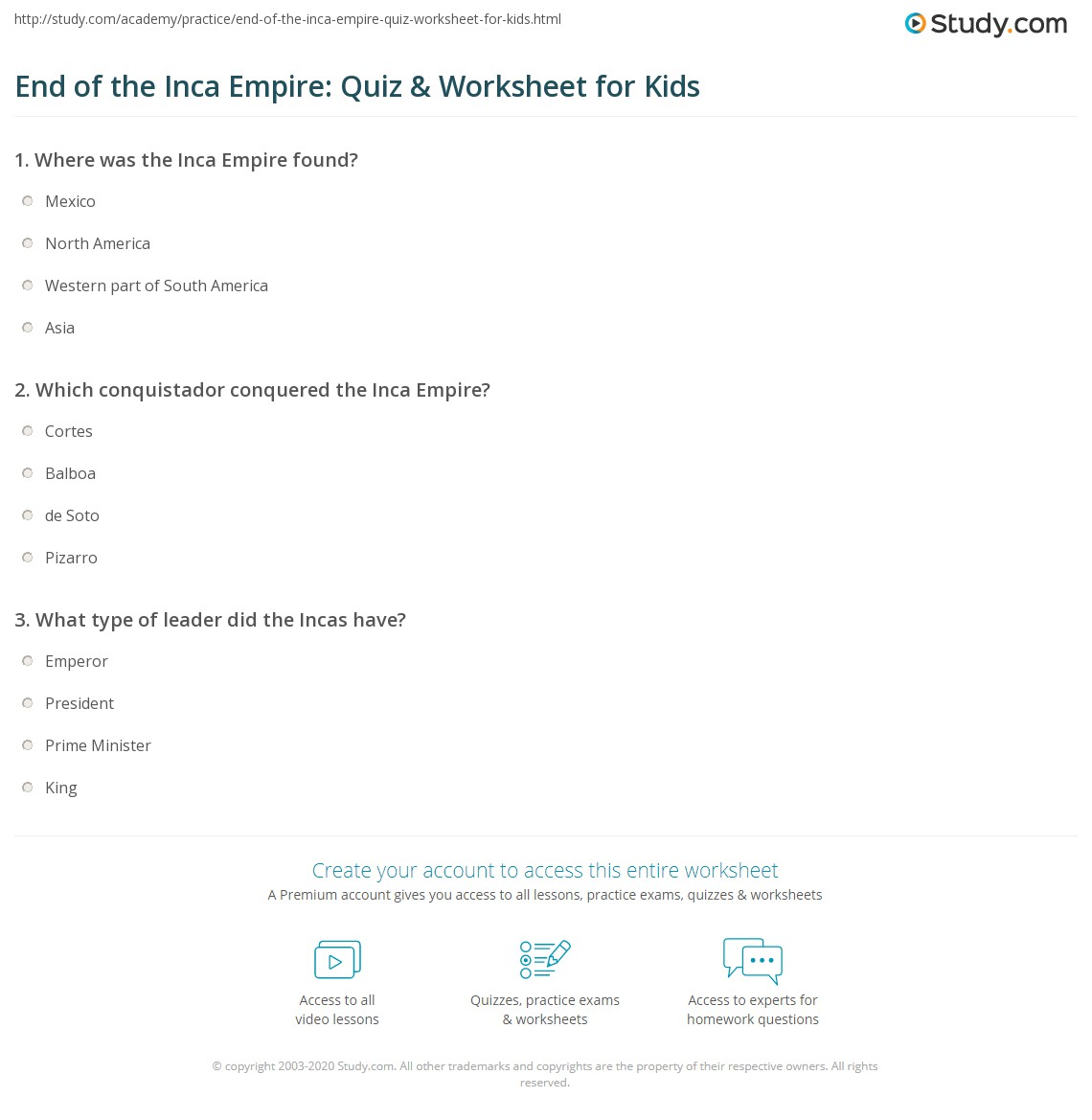 End Of The Inca Empire Quiz Amp Worksheet For Kids