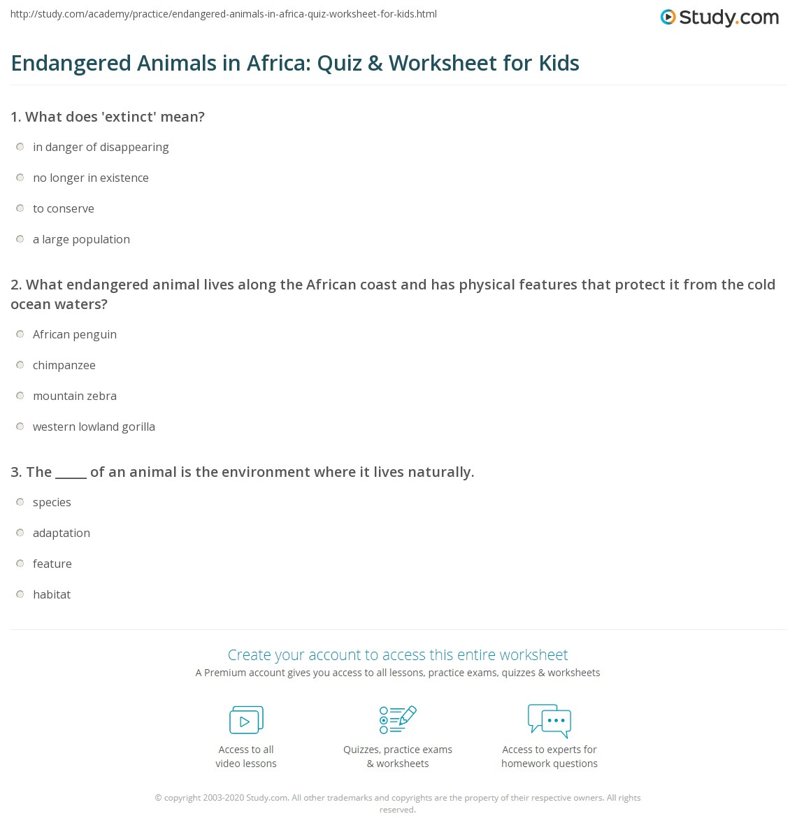 Endangered Animals In Africa Quiz Amp Worksheet For Kids