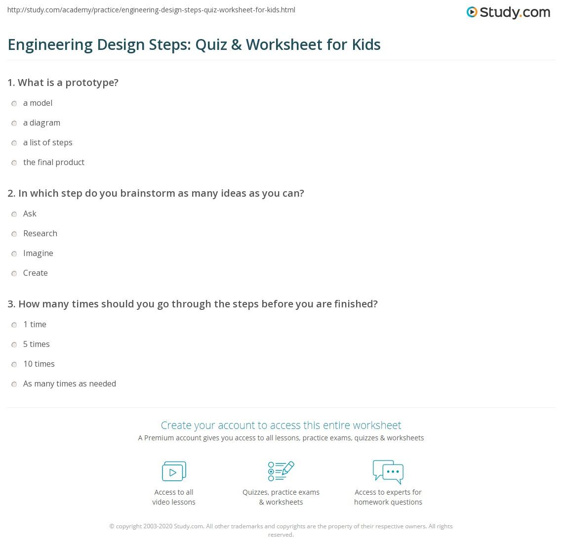 Engineering Design Steps Quiz Amp Worksheet For Kids