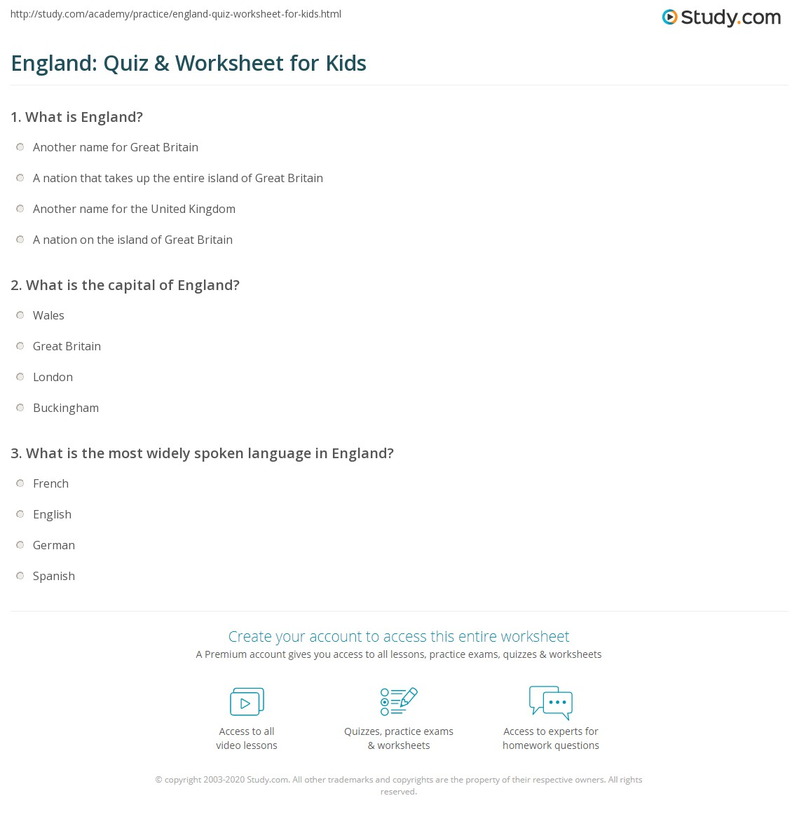 England Quiz Amp Worksheet For Kids