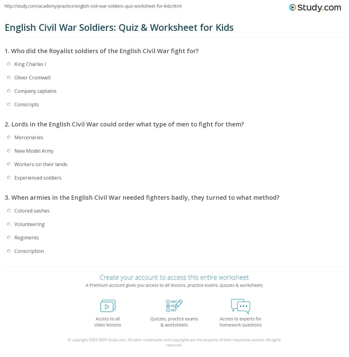 English Civil War Sol Rs Quiz Amp Worksheet For Kids