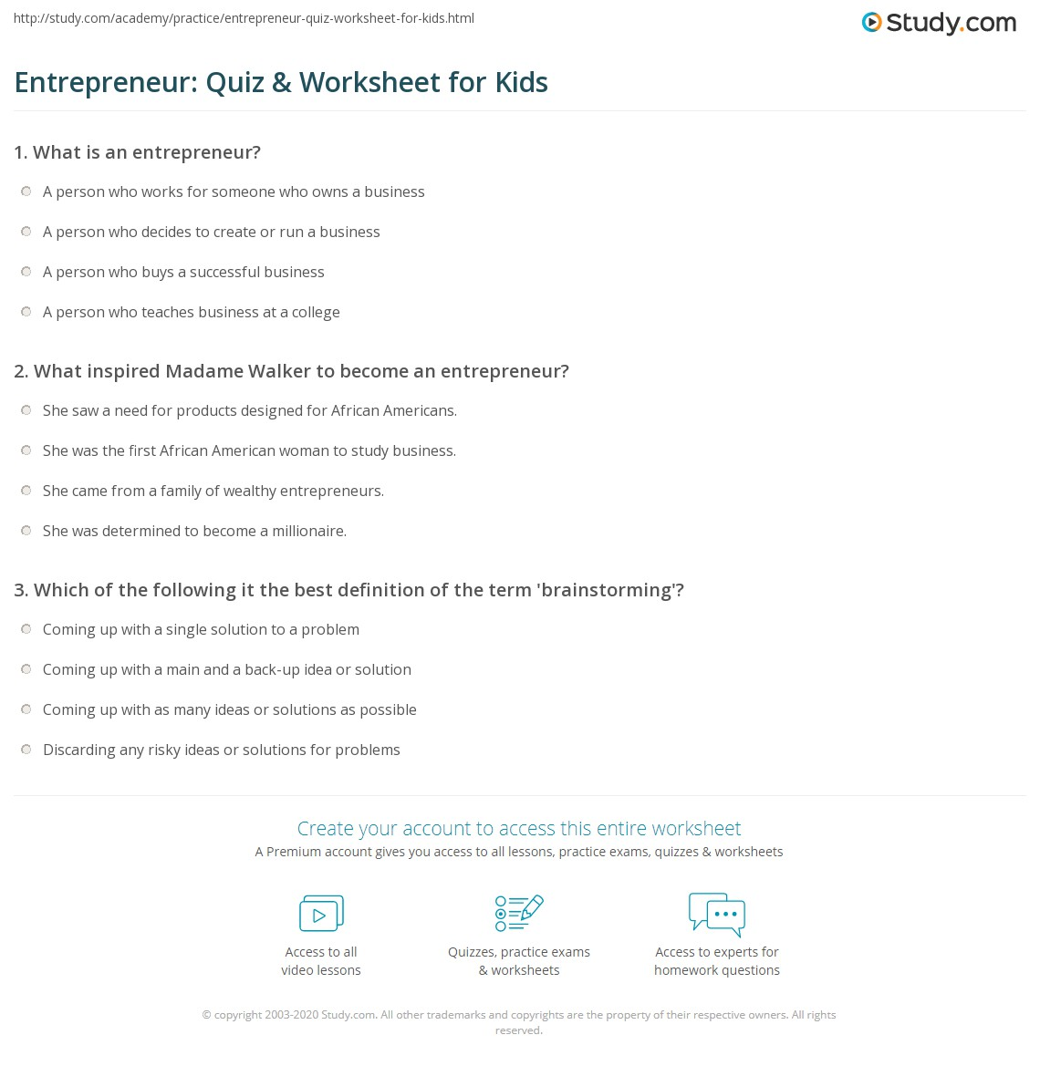 Entrepreneur Quiz Amp Worksheet For Kids