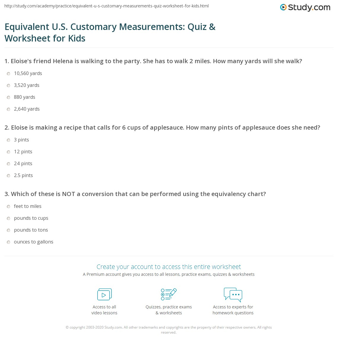 Equivalent U S Customary Measurements Quiz Amp Worksheet