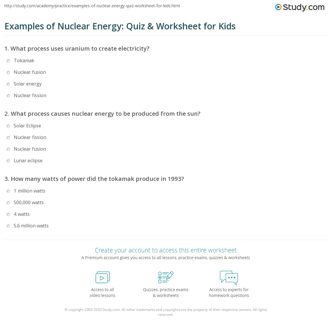 Examples Of Nuclear Energy Quiz Amp Worksheet For Kids