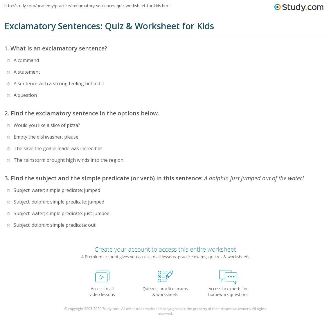 Exclamatory Sentences Quiz Amp Worksheet For Kids