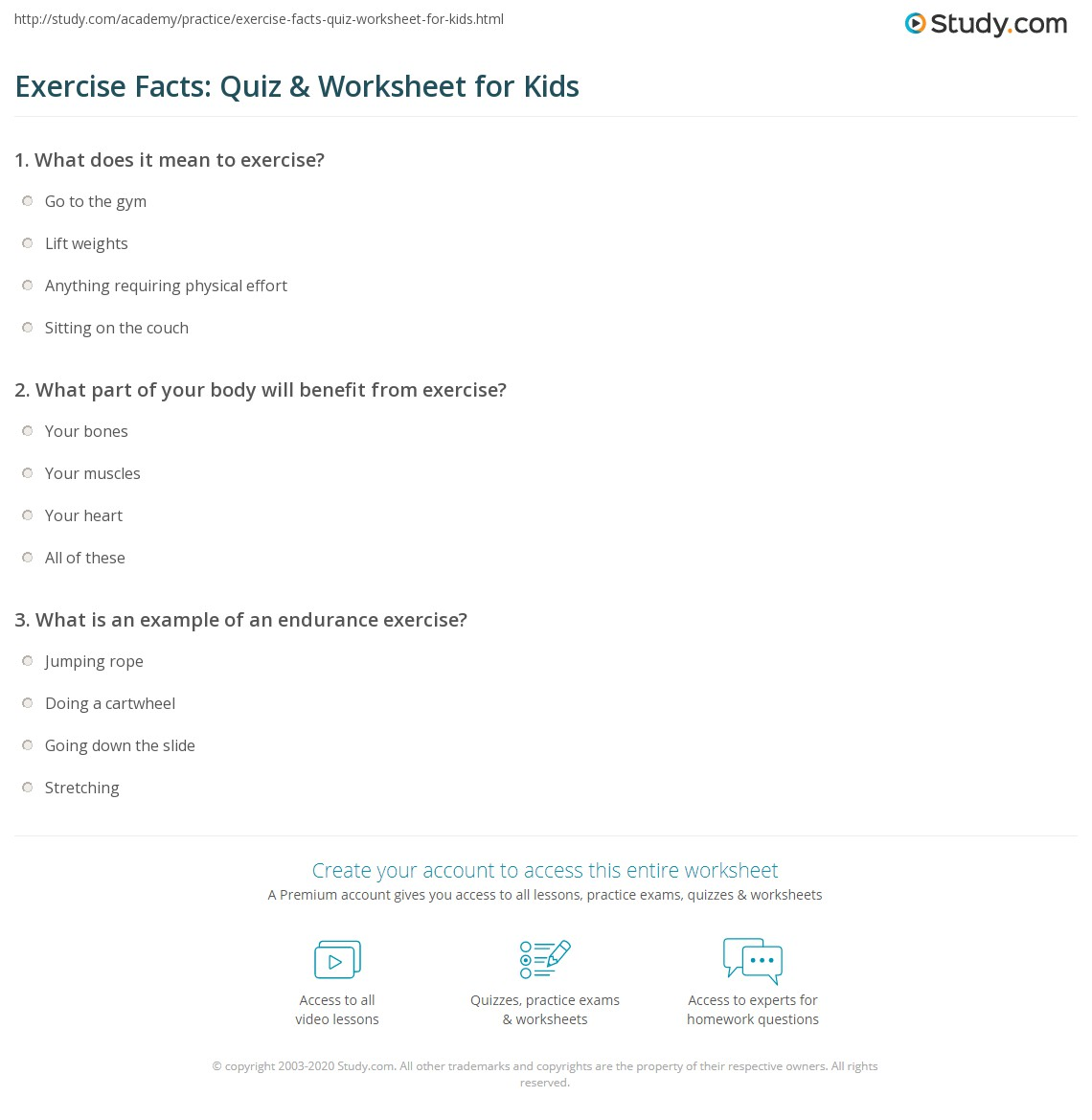 Exercise Facts Quiz Amp Worksheet For Kids