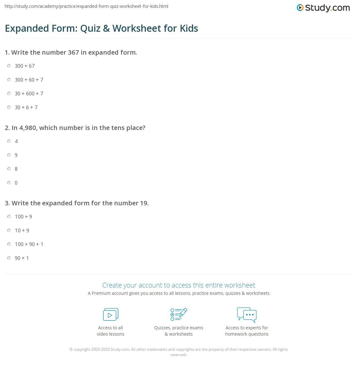Expanded Form Quiz Amp Worksheet For Kids