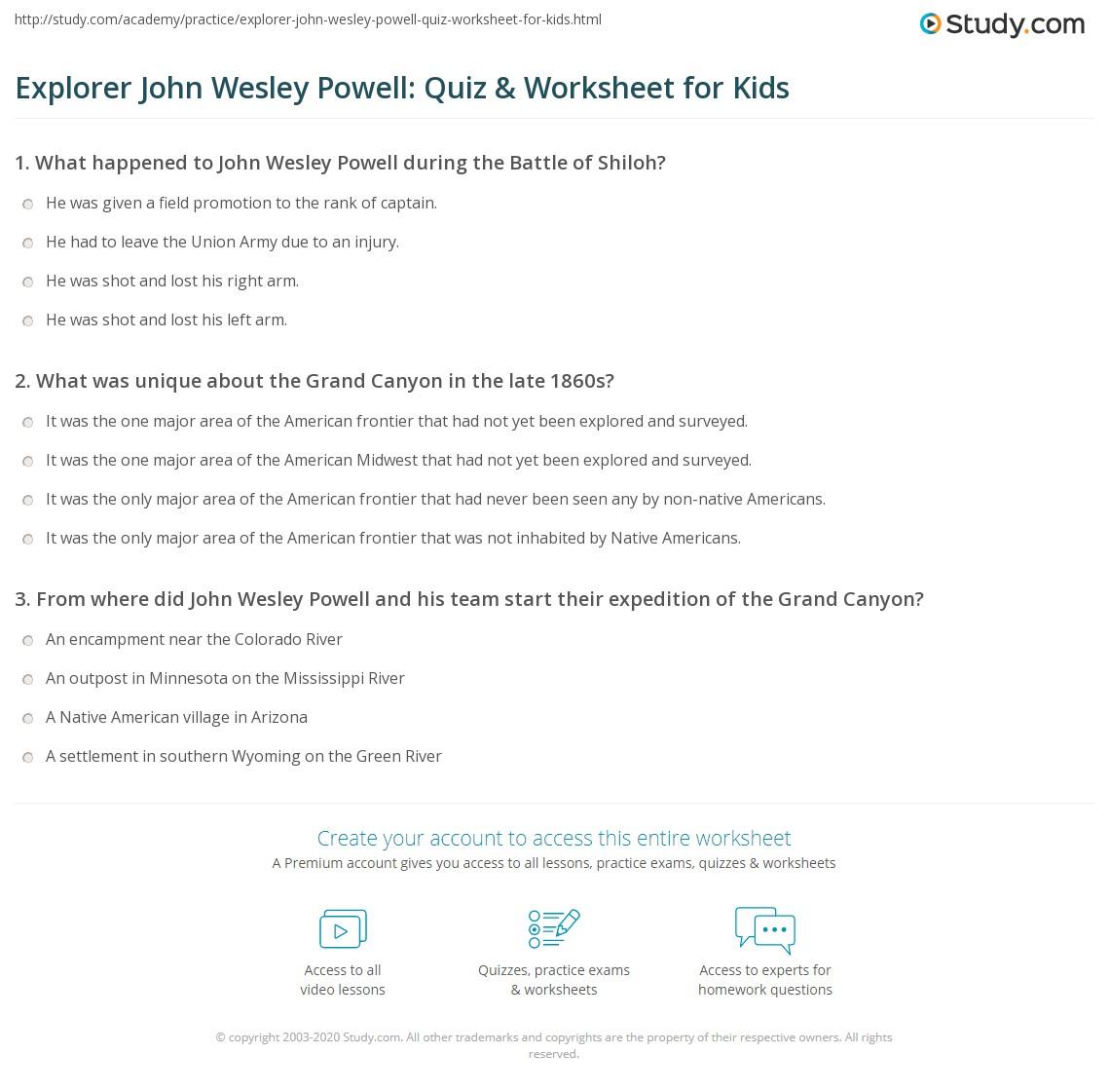 Explorer John Wesley Powell Quiz Amp Worksheet For Kids