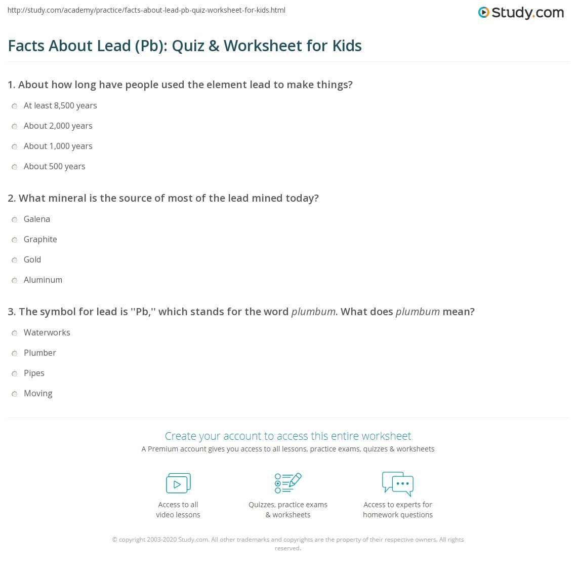 Facts About Lead Pb Quiz Amp Worksheet For Kids