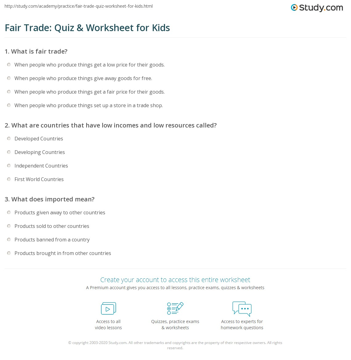 Fair Trade Quiz Amp Worksheet For Kids
