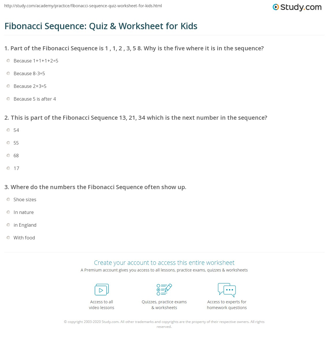 Fibonacci Sequence Quiz Amp Worksheet For Kids