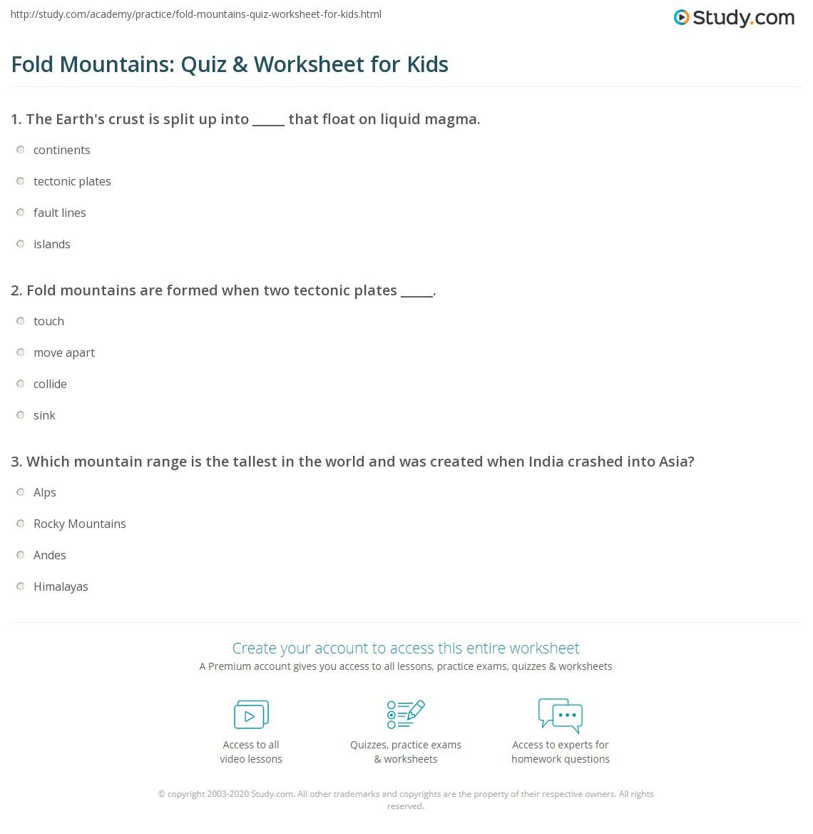 Fold Mountains Quiz Amp Worksheet For Kids