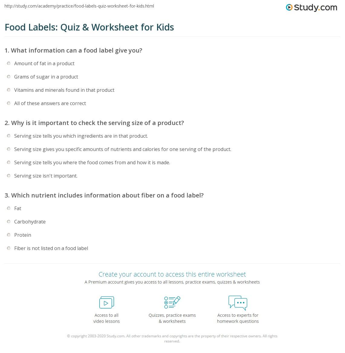 Food Labels Quiz Amp Worksheet For Kids