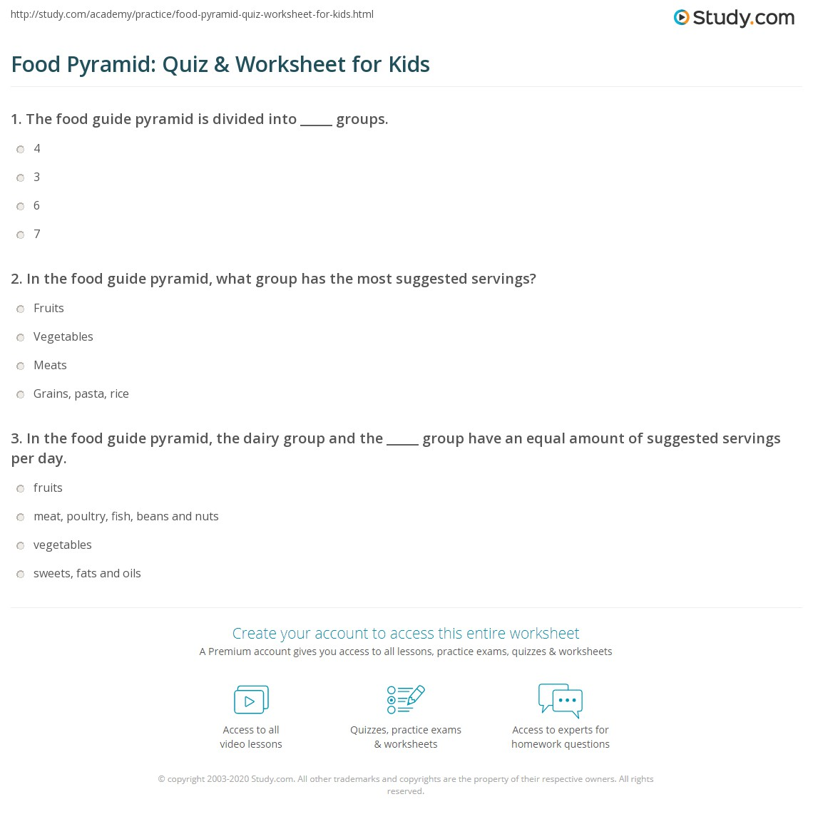 Food Pyr Mid Quiz W Ksheet Kids Study