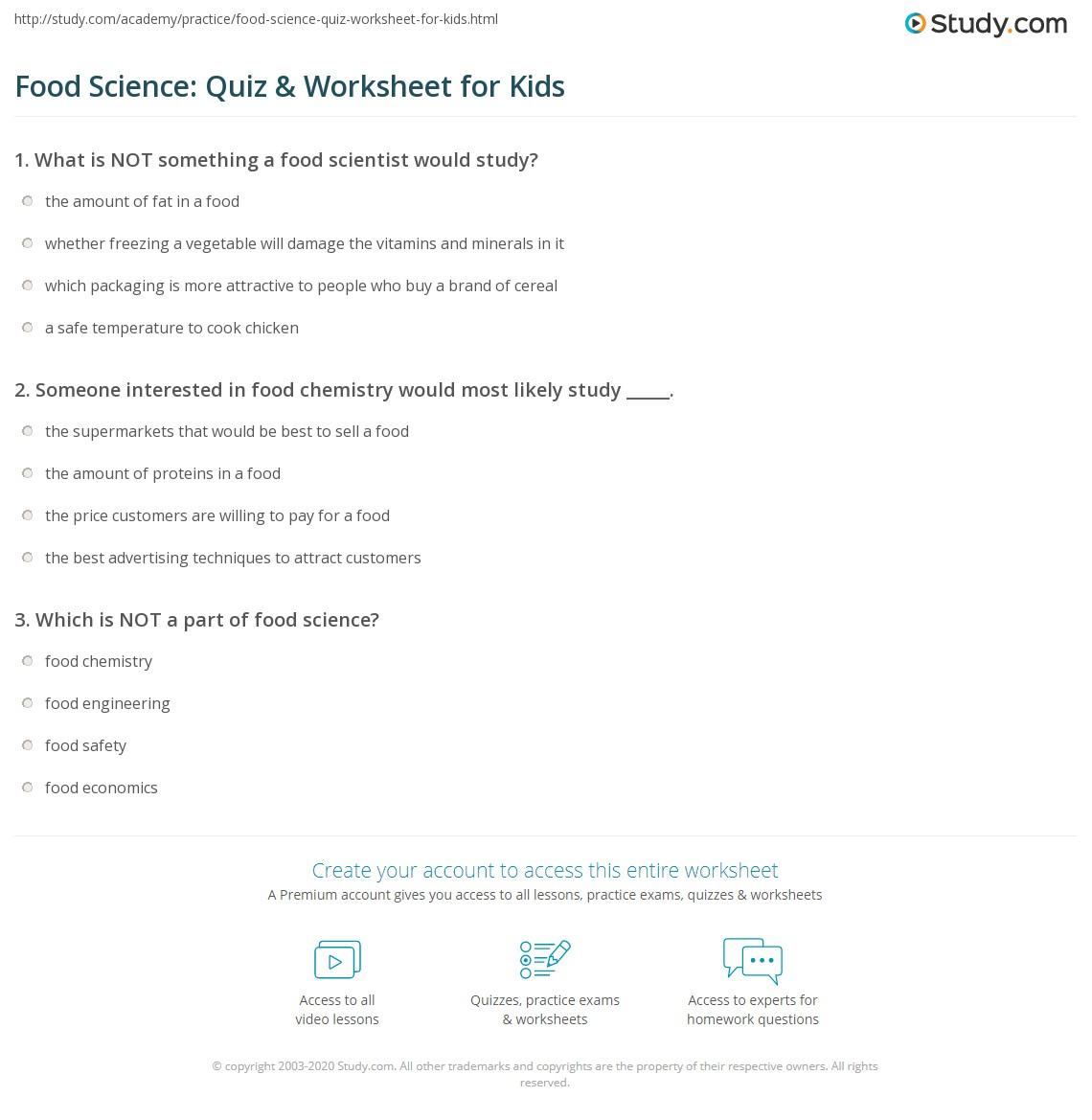 Food Science Quiz Amp Worksheet For Kids