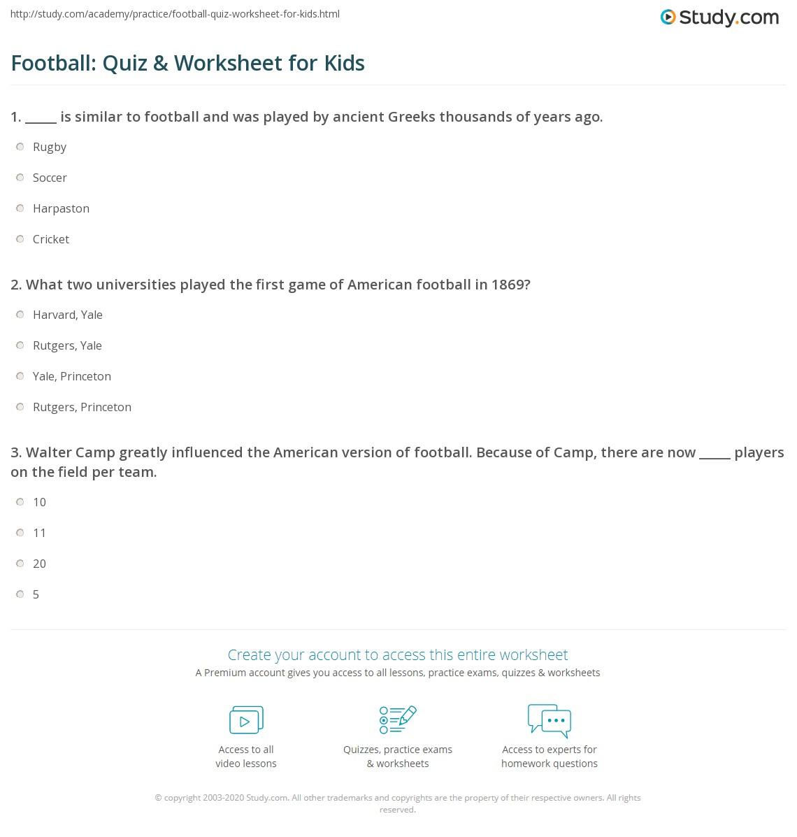 Football Quiz Amp Worksheet For Kids