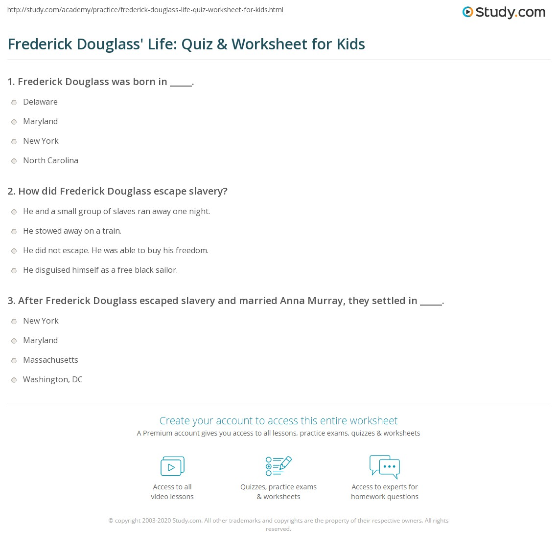 Frederick Douglass Life Quiz Amp Worksheet For Kids