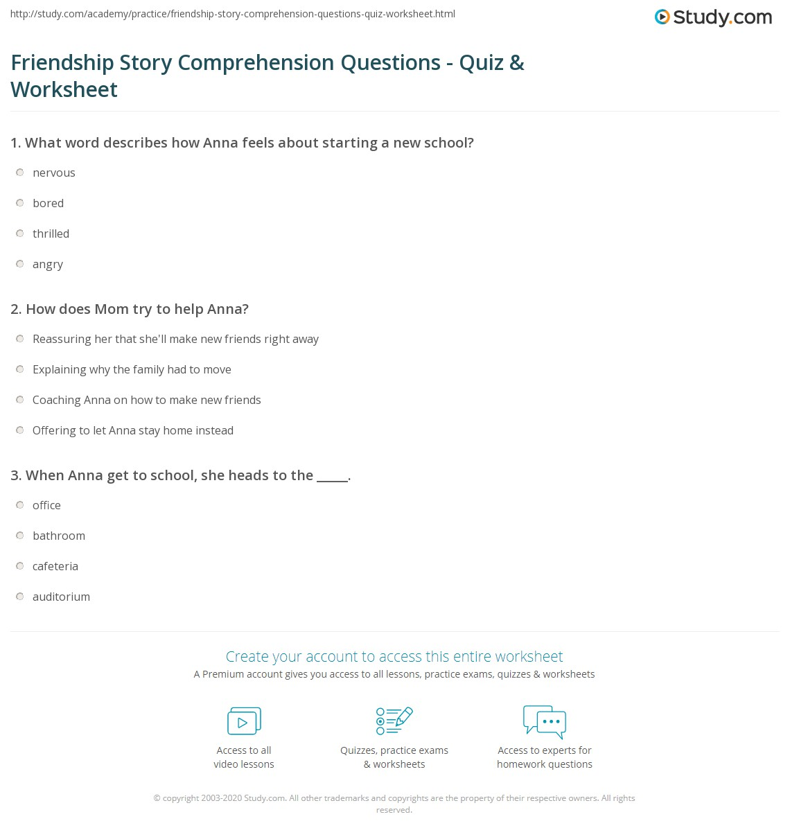 Friendship Story Comprehension Questions