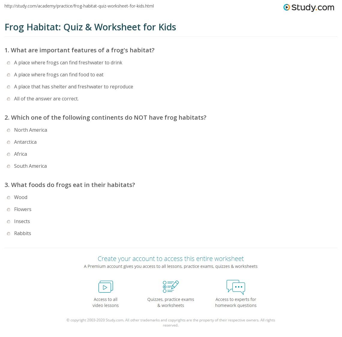 Frog Habitat Quiz Amp Worksheet For Kids