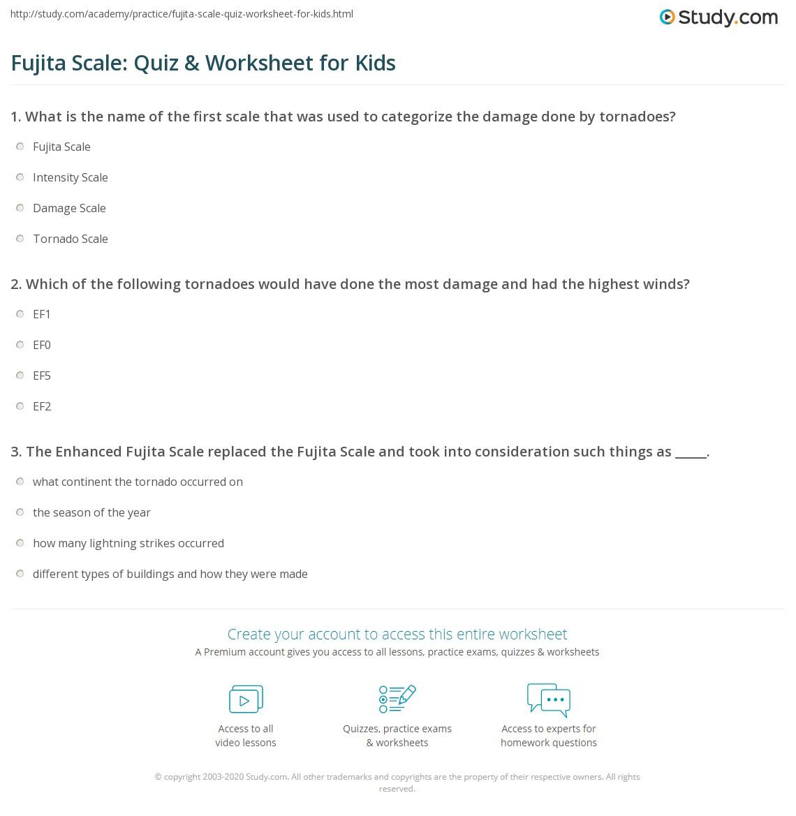 Fujita Scale Quiz Amp Worksheet For Kids