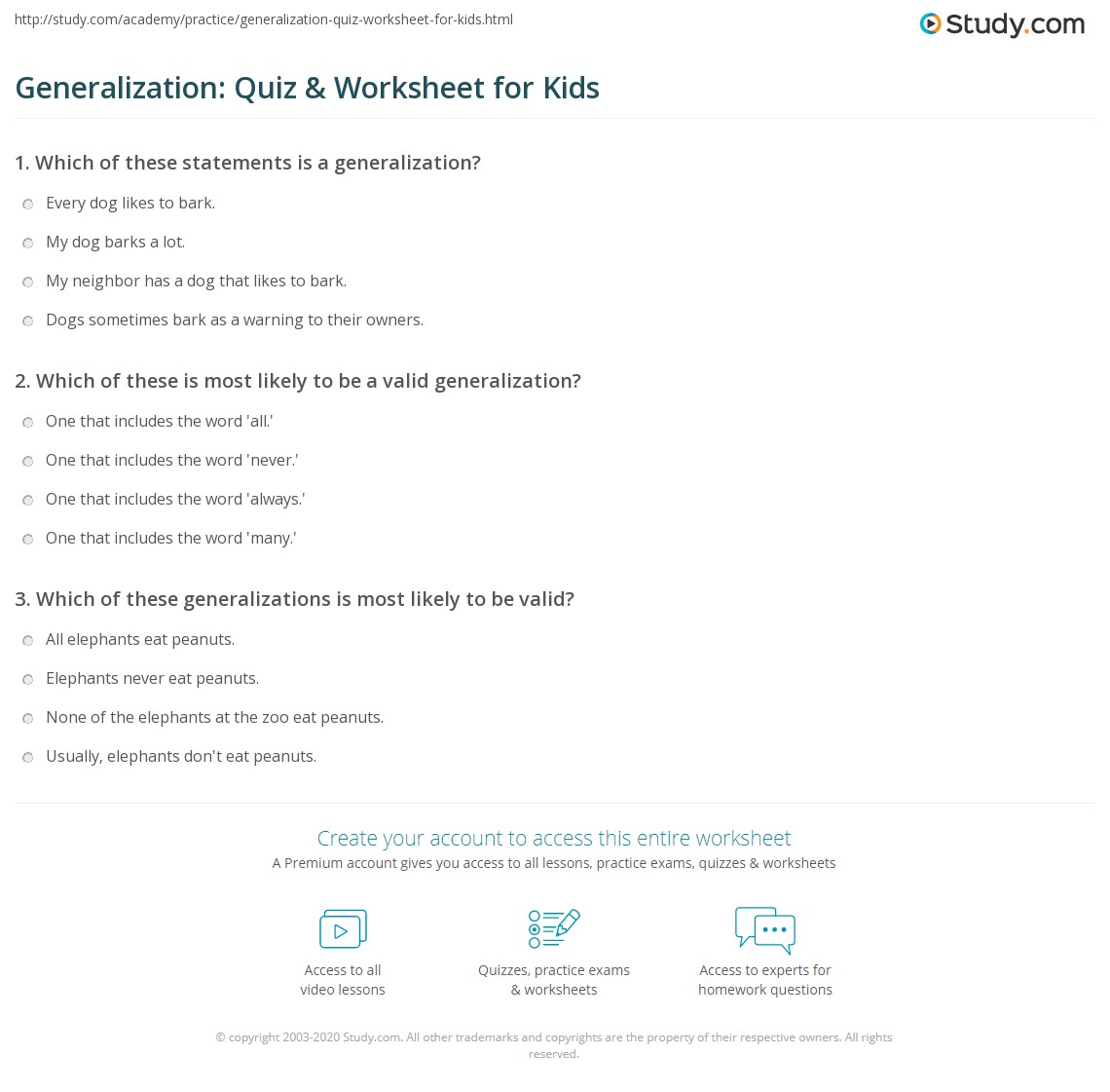 Generalization Quiz Amp Worksheet For Kids